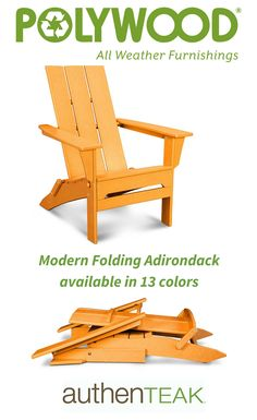 Classic seating updated with weatherproof Polywood construction, modern styling, and 13 colors to choose from. Find your perfect adirondack at AuthenTeak.