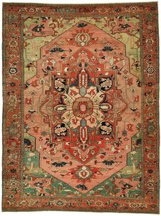 "Persian Heriz Serapi rug - price tag ""just a little bit"" out of my range. But gorgeous and perfect colors for living room. Outdoor Runner Rug, Rug Runner, Carpet Runner, Persian Carpet, Persian Rug, Iranian Rugs, Art Chinois, Art Japonais, Tribal Rug"