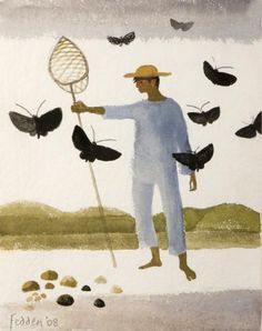 Black Butterflies 2008 by Mary Fedden Art And Illustration, Illustrations, Pop Art, Figurative Kunst, Paintings I Love, Naive Art, Altered Art, Watercolor Paintings, Contemporary Art