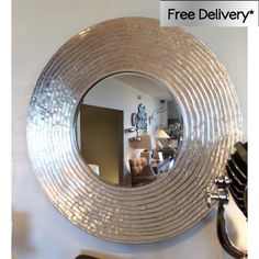Really nice For any room.   Large Round Silver 'Ripple' Mirror 108cm [EE2370] - �228.65 - Mirrors for Every Interior from Exclusive Mirrors