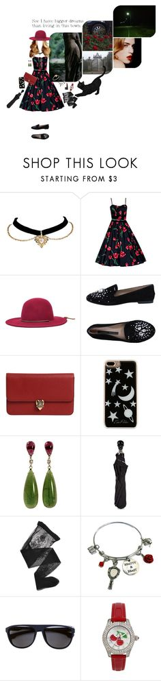 """""""a burst of scarlet blossom"""" by whimsically-so ❤ liked on Polyvore featuring Brixton, Norma J.Baker, Alexander McQueen, Edie Parker, Emporio Armani, Disney, Mykita, Betsey Johnson, NARS Cosmetics and vintage"""
