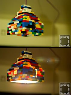 This is a lego lamp as you can see! It would look so charming to have this in children's room or anyone who loves to play with lego :) This is one of the most amazing DIY idea lamp. Ikea Lamp Shade, Lamp Shades, Light Shades, Legos, Deco Lego, Lego Bedroom, Childs Bedroom, Bedroom Kids, Lego