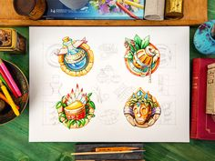 Icon set designed by Mike Icon Design, Game Ui Design, Icon Set, Game Icon, Game Concept, Concept Art, Character Drawing, Character Design, Sketch Markers