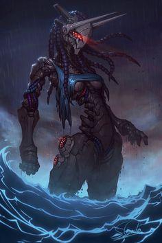 Aqua by Kookrite on DeviantArt Monster Concept Art, Robot Concept Art, Armor Concept, Dark Fantasy Art, Fantasy Rpg, Character Concept, Character Art, Foto Batman, Predator Art