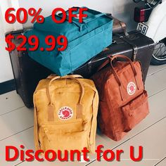 The Kanken backpack available in different colours! The Kanken backpack available in different colours! Mochila Kanken, Kånken Rucksack, Kanken Backpack, Diaper Backpack, Canvas Backpack, Mein Style, Cute Backpacks, Orange Backpacks, Beauty Products