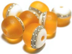 Amber Topaz Ivory Silvered Ivory Frosted by ArcadiaBeads