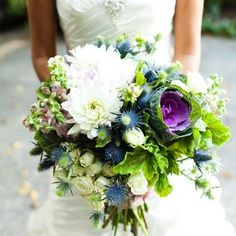 thistle bouquet for the bride. love how lively this bouquet is! Floral Wedding, Wedding Bouquets, Wedding Flowers, Wedding Dresses, Wedding Colours, Dream Wedding, Wedding Day, Wedding Stuff, Wedding Photos