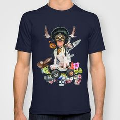 Monkey Plane Dead Rabbit Spaceship T-shirt by Mr Bartle - $22.00