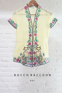 Rocco Raccoon Hand Embroidery Contemporary Kebaya  Length of Kebaya : approx. 65 cm  Material used : Textured Chiffon / Hand Embroidery