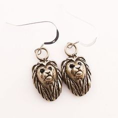 Animal Earrings - Lion - White Bronze - keja jewelry