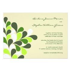 "Modern Spring Green Wedding Invitations 5"" X 7"" Invitation Card"