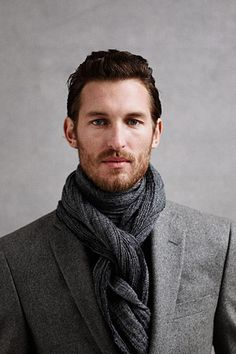 Men's gray wool jacket and scarf ...fall fashion