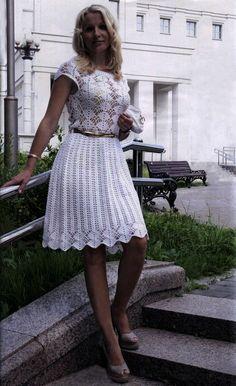 Crochet dress PATTERN, crochet wedding dress pattern, cocktail dress.
