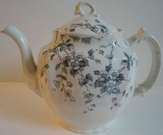 Wedgwood Antique Celia Pattern Blue Gray Transfer-ware Ironstone Teapot, c-1860
