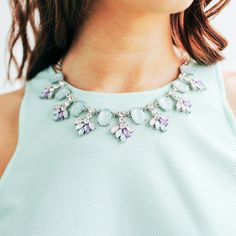 """Make an elegant """"statemint"""" with the Sancia Cluster Necklace! #Mint #seafoam #statement charming charlie"""