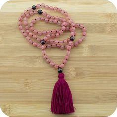 Hand Knotted Cherry Quartz Crystal Yoga Japa Mala Beads Necklace with Red Garnet