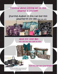 Follow your dreams, start your own Thirty One Business!! Have a job you love and get rewarded for just doing your job! Join my team at www.mythirtyone.com/valerie31gifts