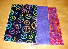Baby Burp Cloth Set of 3 Purple Peace Sign by Amandamaetucker, $10.00