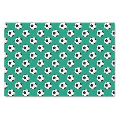 Black And White Soccer Football Balls On An Emerald Green Background 10 X 15