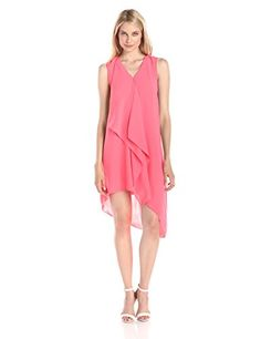Adrianna Papell Womens Sleeveless V Neck Asymmetrical Hem Dress Grapefruit 8 ** Be sure to check out this awesome product.