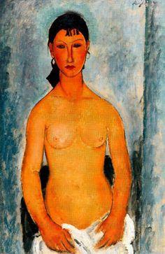 'Stehender Akt (auch als Elvira bekannt)', öl auf leinwand von Amedeo Modigliani (1884-1920, Italy)