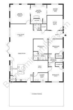 Barn Homes Floor Plans, Pole Barn House Plans, Bedroom Floor Plans, Pole Barn Homes, New House Plans, Dream House Plans, House Floor Plans, Ranch Floor Plans, Modular Home Floor Plans