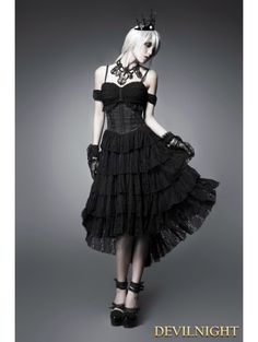 Black Off-the-Shoulder Gothic Corset High-Low Dress - Devilnight.co.uk