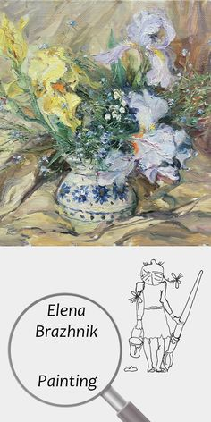 """Elena Brazhnik   Painting   Printable   Design   Interior   Instant Download   """"Irises and Forget-me-nots"""" (fragment)   Oil on Canvas Still Life Flowers Summer Yellow Blue Brown Digital Image for Print   №LP-001"""