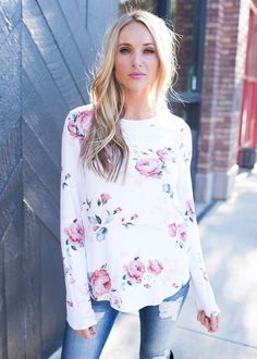 Top, Long sleeve Top, Floral Top, White Top, Pink Floral Top, Cute, Fashion, Online Boutique
