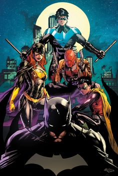 Batfamily. Batman, Nightwing, Batgirl, Red Hood, & Robin.