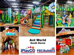 New installation for We designed, manufactured and installed this large custom themed FEC - Ant World is South Korea. Playground Design, Outdoor Playground, Playground Ideas, Kids Play Equipment, Best Commercials, Kids Play Area, Indoor Play, Toddler Play, Creative Play