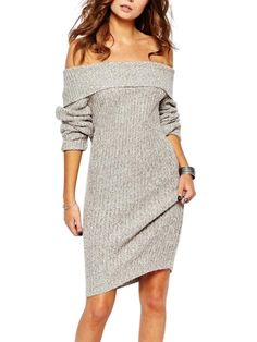 Walkingon Womens Long Sleeve Off Shoulder Knitted #Casual #Bodycon #Dresses