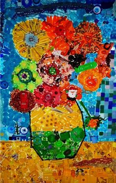 Cindy's Sunflowers, inspired by Van Gogh and Jane Perkins!
