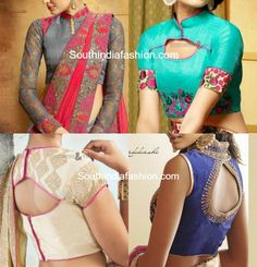 Tips to flaunt the high neck blouses in style! – The trend of high neck blouses in endless different styles is enjoying their moment in the Indian fashion world. High Neck Saree Blouse, Blouse Neck Models, Latest Saree Blouse, Saree Blouse Patterns, Designer Blouse Patterns, Saree Blouse Designs, Dress Designs, Blouse Designs High Neck, Crop Top Designs