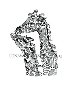 Hand Drawn Pen and Ink Zentangle Giraffe Signed by LunaWindDesign