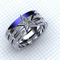 Captain America ring - Paul Michael Designs