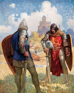 """""""I am Sir Launcelot du Lake, King Ban's son of Benwick, and knight of the Round Table"""" by: N. Wyeth (Artist) from: The Boy's King Arthur: Sir Malory's History of King Arthur and His Knights of the Round Table (P. King Arthur Legend, Legend Of King, Pop Art, King Arthur's Castle, Illustrations, Illustration Art, The Boy King, Mists Of Avalon, Nc Wyeth"""