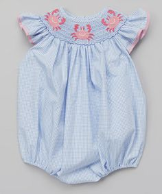 Love this Purple Gingham Crab Smocked Bubble Bodysuit - Infant by Petite Palace on #zulily! #zulilyfinds