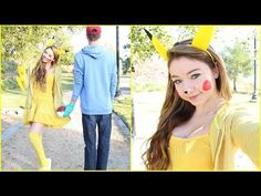 I'm going as a cat this year, but I'm so tempted to change it to Pikachu! I've already bought my cat costume and stuff, so I guess I'll just have to wait for next year to do this. Pikachu Halloween Costume, Pokemon Costumes, Last Minute Halloween Costumes, Halloween Kostüm, Halloween Outfits, Pikachu Makeup, Pikachu Ears, Nerd Outfits, Halloween Kleidung