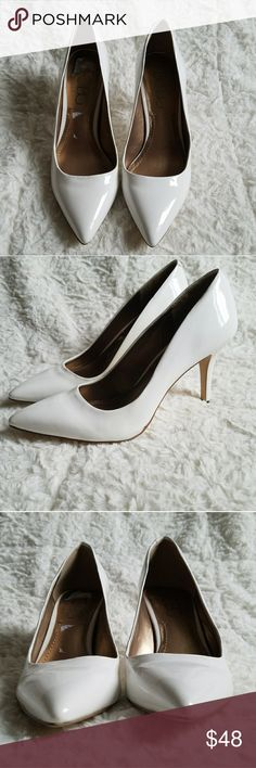 """BCBG Paris Alabaster Gaminhka Pump Size 7M This heels are like new with little or no blemish. The BCBG Gaminkha is the ideal pump for a sassy, sophisticated style! Combining superb versatility and style, this is the perfect heel height to easily transition you from work to party! You are sure to get lots of compliments with this classy cosmopolitan heels ;)   FEATURES: Faux patent leather upper Pointed toe 3"""" covered heel BCBG Shoes Heels"""