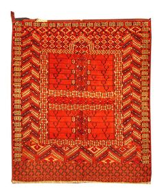 "A Turkuman Engsi Prayer Rug Size: 4'3"" x 5'1"" - 130cm x 155cm Origin: Turkman & Central AsiaPeriod: Late 19th century"