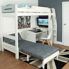 The Urban Grey High Sleeper 1 Loft Bed from Kids Avenue is perfect for older kids and teens, offering a place to sleep, chill-out, study and play.