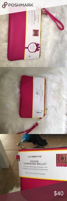 Liz Claiborne charging wallet🎉 1 hr flash sale 🎉 Brand new never used ! Great for those who's always running low on battery 😝 Liz Claiborne Bags Clutches & Wristlets