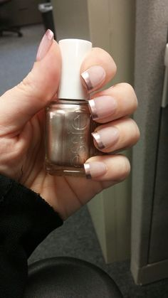 "Rose gold tips. Probably my favorite manicure ever! Pretty & classy :) Essie ""Penny Talk"" & OPI ""Bubble Bath"""