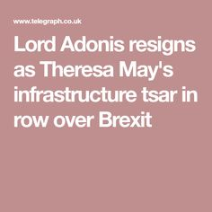 Lord Adonis resigns as Theresa May's infrastructure tsar in row over Brexit