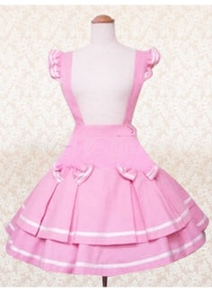 Pink Cotton Natural Short Lolita Skirt With Bow And Suspender