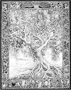Tree of Life by *ellfi ©2011-2012 An ancient and wise tree who has stood the test of time, Its branches and roots protect and nurture all forms of life Rotring pens and ink 50 x 60 cm approx 30 hours to complete.