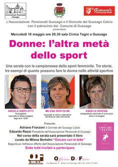 """Mercoledì 18 maggio incontro """"Donne: l'altra metà dello sport"""" - http://www.gussagonews.it/incontro-donne-altra-meta-sport-maggio-2016/"""
