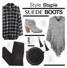 """Suede Boots"" by lgb321 ❤ liked on Polyvore featuring rag & bone, MANGO, Topshop and Madewell"