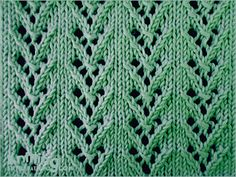 Arrow Knitted in a multiple of 7 sts and 6-row repeat. Row 1 (Right side):  * K4, yo, k3; repeat * to end. Row 2 and wrong side rows: Purl. Row 3: * K2, k2tog, yo, k1, yo, ssk, k1; repeat * to end. Row 5: * K1, k2tog, yo, sl 1-k2-psso, yo, skpo; repeat * to end. Row 6: Purl